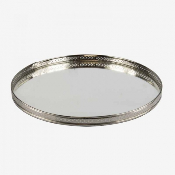 Bandeja de espejo redonda